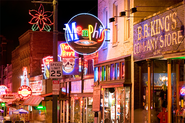 Memphis streets at night