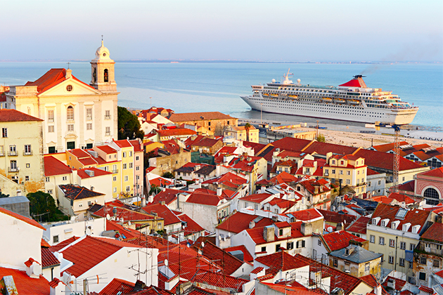 Cruise ship in colorful lisbon
