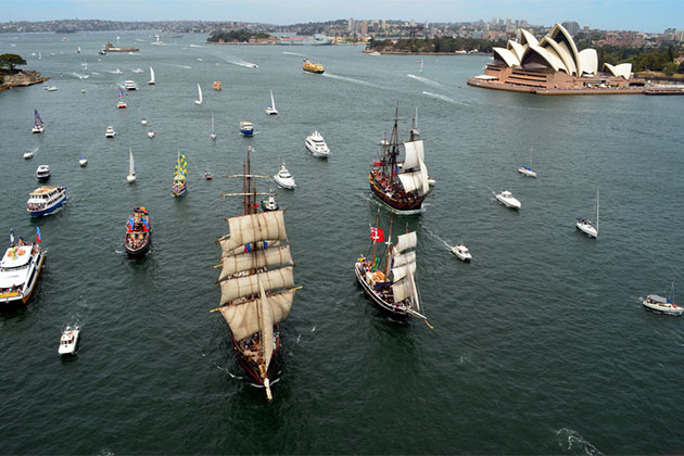 Variety of boats in Sydney Harbour for Australia Day