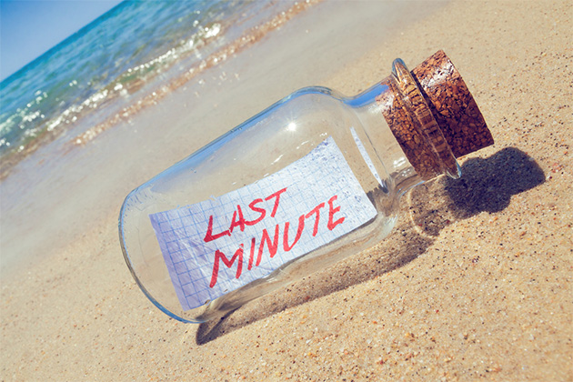 Last minute deal in bottle on the beach