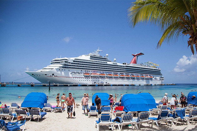View of Carnival Sunshine from Grand Turk beach