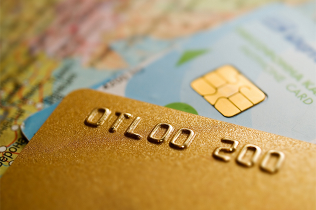 Credit cards and a world map
