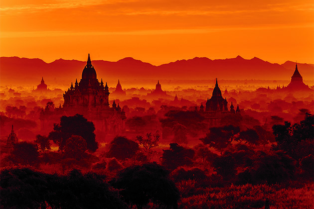 Sunset over Bagan Archaeological Zone