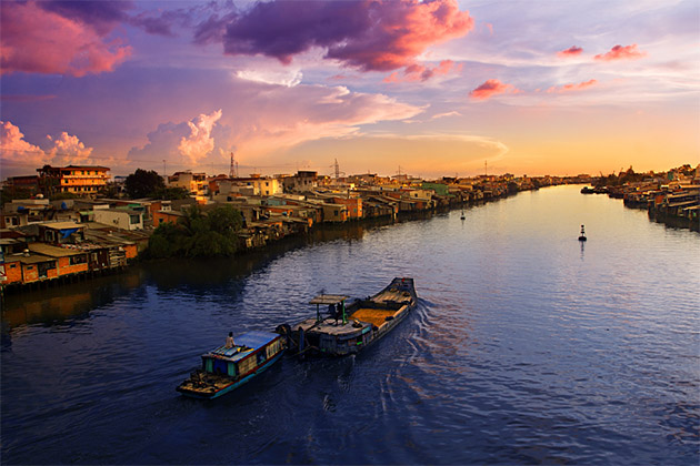 Peaceful sunset on the Mekong river in Viet Nam.