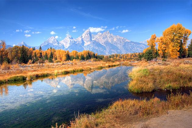 Teton Range Reflection on Snake River, Schwabacher Landing, Wyoming