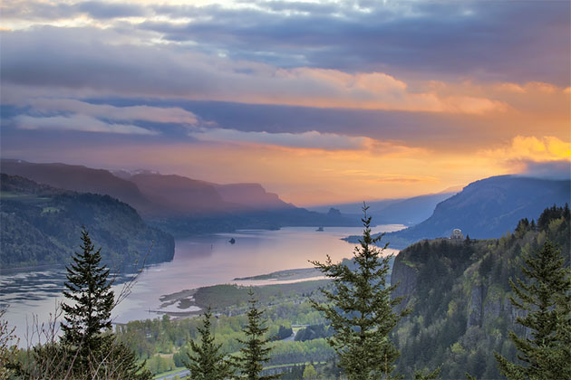 Sunrise Over Vista House on Crown Point at Columbia River Gorge in Oregon