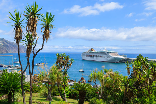 Cruise ship anchored off the coast of Madeira island