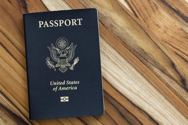 Close up shot of an American passport