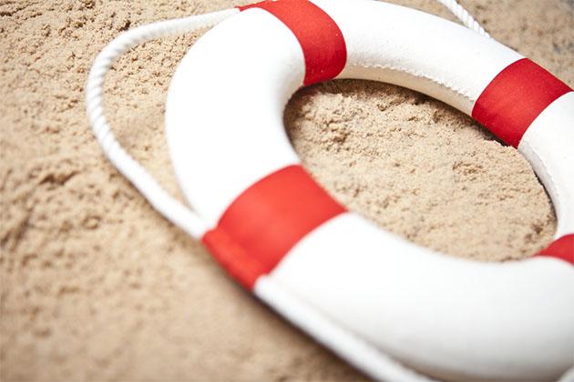 Life ring on beach