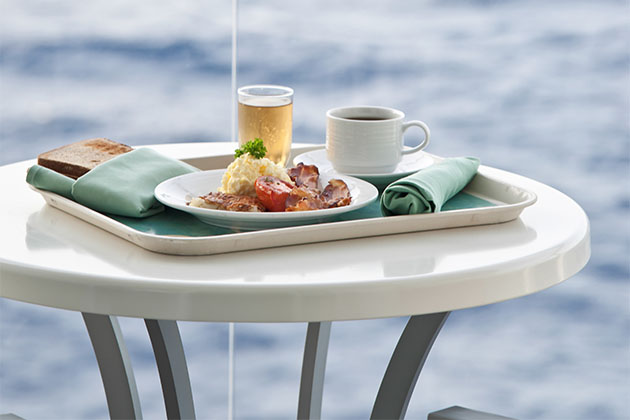Room service on a cabin balcony table