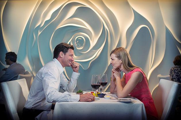 Couple Enjoying Meal at Restauraunt Blu