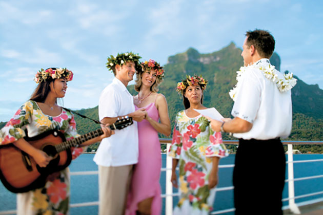 Polynesian blessing ceremony on Paul Gauguin Cruise