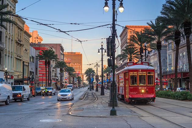 New Orleans Streetcar Line at downtown New Orleans