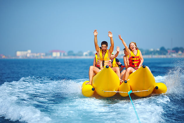 Friends on Banana Boat in the Caribbean