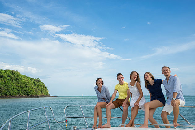 Group of Friends on Caribbean Yacht