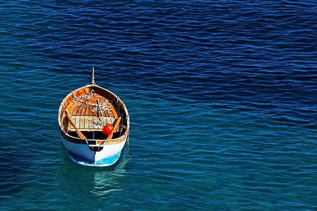 Skiff in the Caribbean
