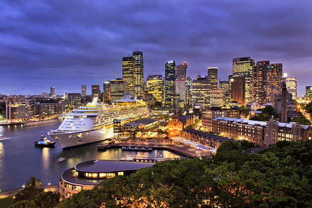 Sydney harbor at night.
