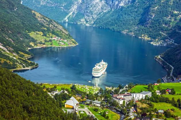 Cruise ship in Geiranger fjord, Norway
