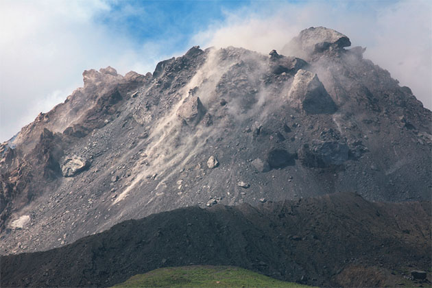Extrusion lobes on lava dome of Soufriere Hills volcano