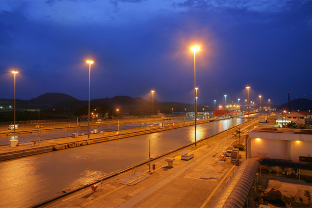 View of Panama Canal at night from ashore