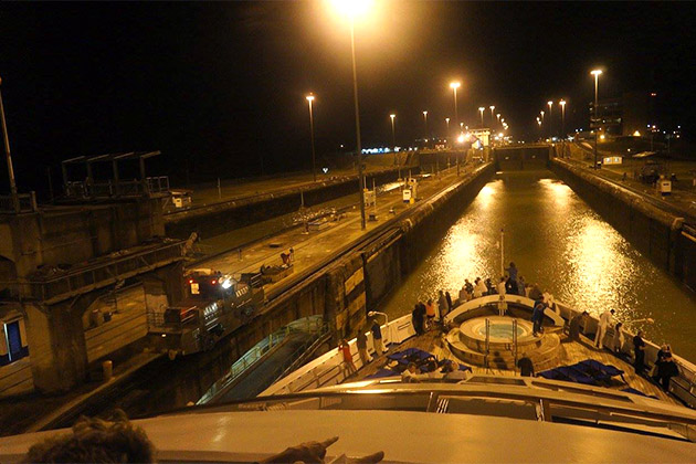 View of Panama Canal at night via the ship