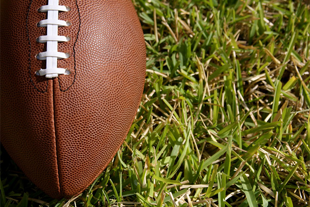 Close up of football in the grass