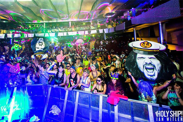 Crowd of music fans at Holy Ship performance