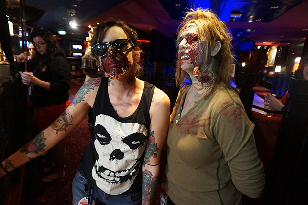 Two girls dressed up as zombies for the Walking Dead cruise