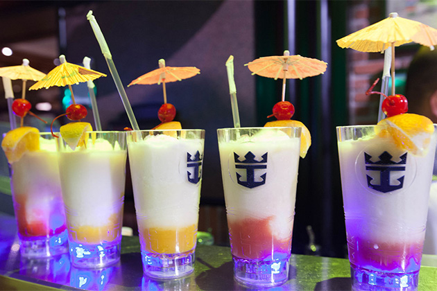 A row of fruity cocktails on Independence of the Seas