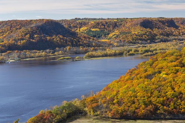 The Mississippi River in autumn