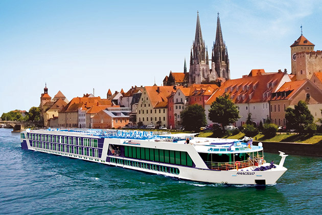 Exterior shot of AmaCello cruising a river in Regensburg