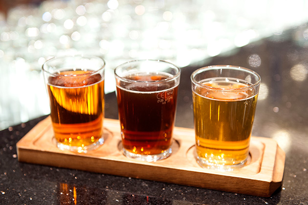 A beer flight from Brodie's