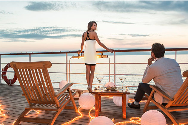Couple Enjoying a Cocktail on Club Med 2 ship in the Caribbean Islands