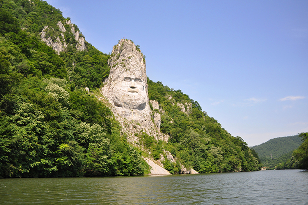 Decebal's head carved in rock, Iron Gates Natural Park, Romania