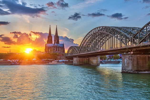 View on Cologne on the Rhine River