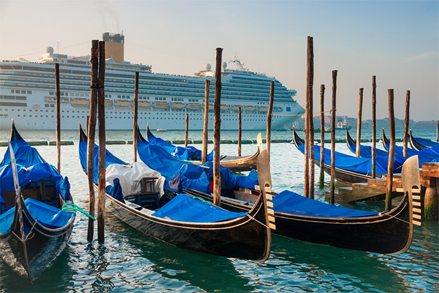 Gondolas on the background of a huge cruise ship, Venice, Venezia, Italy, Europe,