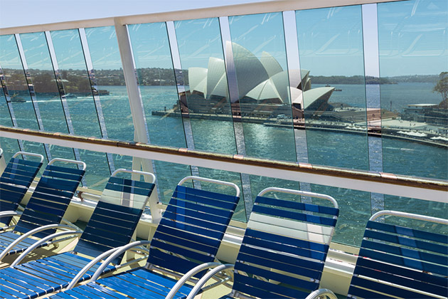 Decks of cruise ship with view of Sydney Opera House