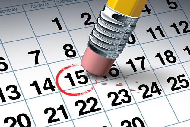 Canceled date on calendar