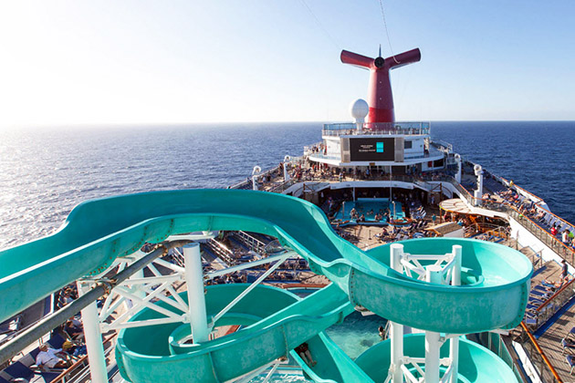 Carnival Conquest pool deck and waterslide