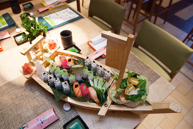 Sushi boat from Bonsai Sushi on Carnival Breeze