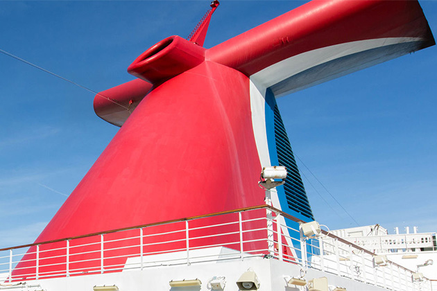 Carnival Cruise Line's iconic red funnel