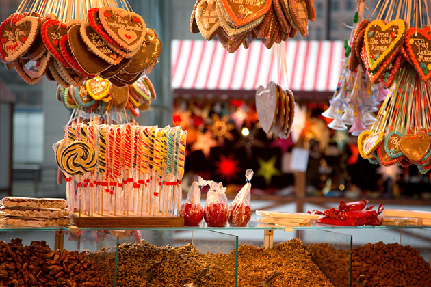 Gingerbreads, candies and nuts displayed on a Christmas market stall in Berlin, Germany