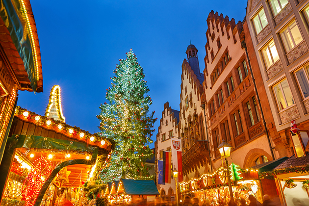 Traditional Christmas market on Roemer platz in Frankfurt, Germany