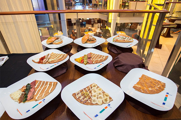 A sample spread in Celebrity Solstice's atrium