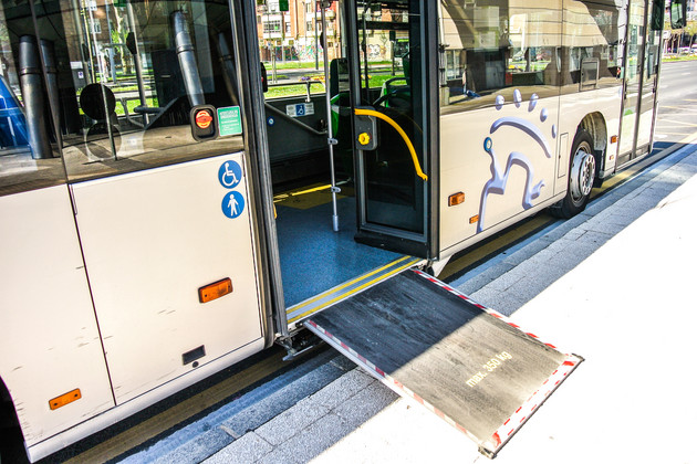 Access ramp on a bus.