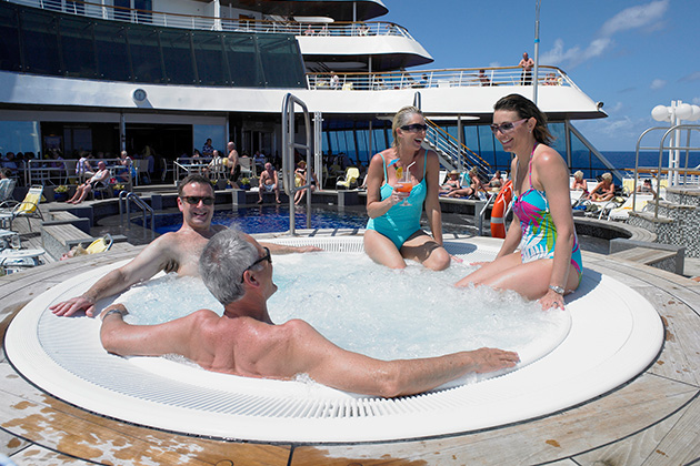 mature cruisers in a hot tub on Balmoral
