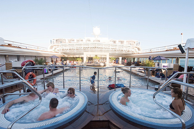The lido deck hot tubs and pool on Eurodam
