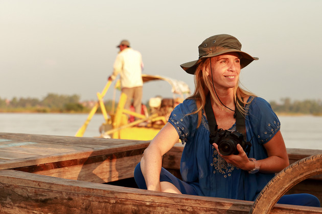 woman on an irrawaddy river boat
