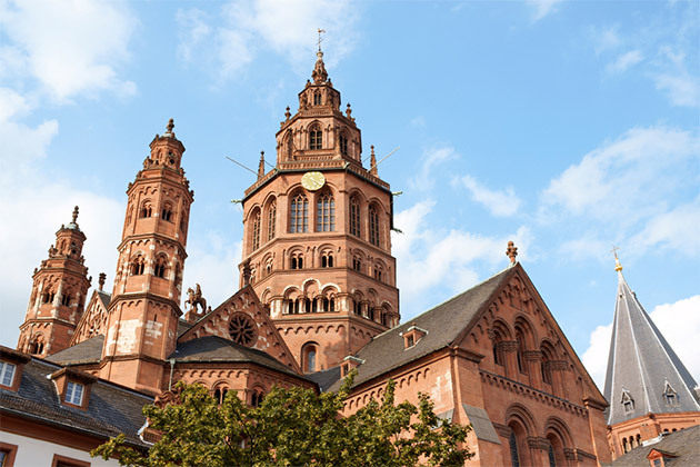 The six towers of St. Martin's Cathedral (Mainzer Dom) in Mainz, Germany