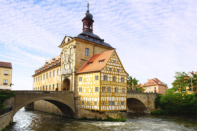 Medieval town hall on the bridge Bamberg Bavaria Germany